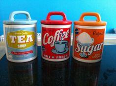 RETRO 1950'S CERAMIC STORAGE COFFEE TEA SUGAR JARS CANISTERS