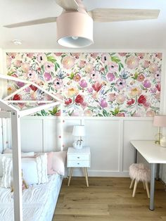 Bare wall? Let's make it beautiful! Our removable wallpaper is an easy way to channel professional style (without having to hire a professional!) to transform your interior space and evoke instant joy. You'll love that our wallpaper is: 100% removable and will not damage your walls. Handmade in our North American studi Stick On Wallpaper, Wallpaper Size, Self Adhesive Wallpaper, New Wallpaper, Flower Wallpaper, Nursery Wall Decor, Girl Nursery, Girl Room, Dado Rail