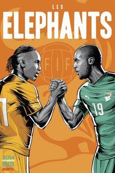 I poster mondiali di ESPN per le 32 nazionali: Ivory-Coast