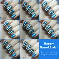 Menorah Mani /  15 Holiday Manicures That Are Actually Easy (via BuzzFeed)