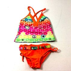 c81e2ebb890 Big Chill 2 Piece Tankini Swimsuit Geometric Peace Sign Pink Orange Girls 6  6X. Plus Size SwimsuitsFaith ...