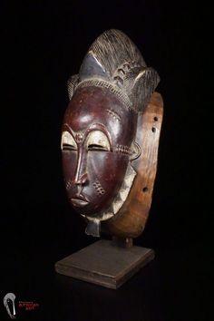 Discover African Art: Exquisite Baule Mask on Custom Base