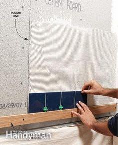 Shower tile installation - Start tile on a level board