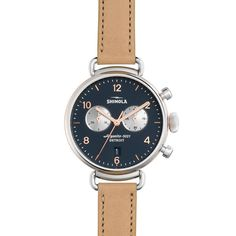 Shinola 38mm Canfield Leather Strap Watch (17,750 MXN) ❤ liked on Polyvore featuring jewelry, watches, rose gold, rose jewelry, dial watches, stainless steel wrist watch, golden watches and buckle watches
