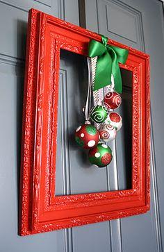framed Christmas wreath door decoration