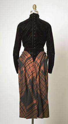 Dress Back c.a. 1950,  Medium: a) silk, wool, b) silk, leather