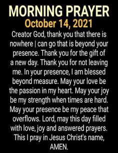 🙏 Morning Prayer For October 14, 2021 💝 Quotes Made with Love