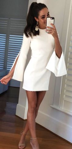#fall #outfits  women's white crew-neck long sleeve bodycon dress