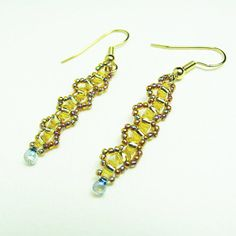 Gold Beadwork Earrings AB Gold Beaded Dangle with AB Drop by BohemianIce on Etsy #jewelry