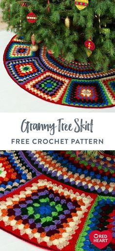 Granny Tree Skirt free crochet pattern in Red Heart Super Saver. Crochet a tree skirt that showcases the basic granny square motif in a rainbow of colors to celebrate the season. Each of the grannies has more stitches on the outer edge so it will lie flat to perfectly display your gifting goodies. Start early and crochet a couple of squares every month to have it done just in time for the tree trimming party! Crochet Christmas Trees, Holiday Crochet, Crochet Home, Crochet Crafts, Crochet Yarn, Crochet Projects, Sewing Projects, Easy Knitting Patterns, Craft Patterns
