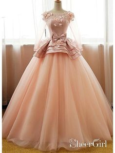 6c75b24efb661 Long Sleeve Blush Pink Prom Dresses Cute Princess Sweet 16 Quinceanera Ball  Gowns ARD1051