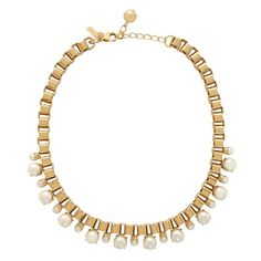 kate spade | box chain pearls short necklace.