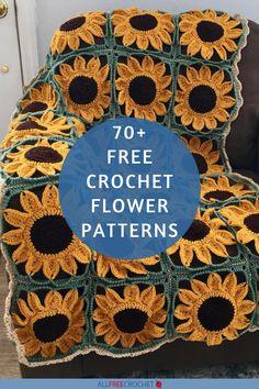 70+ Crochet Flower Patterns Crochet Flower Tutorial, Crochet Instructions, Crochet Flower Patterns, Crochet Stitches Patterns, Crochet Flowers, Fabric Flowers, All Free Crochet, Knit Or Crochet, Crochet Motif