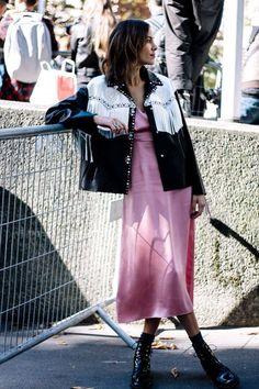 Alexa Chung in an amazing fringed jacket