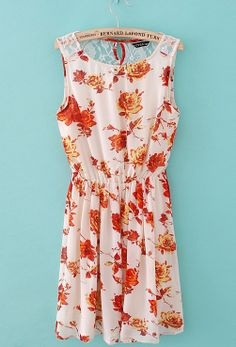 White Sleeveless Orange Floral Back Lace Chiffon Dress - Sheinside.com