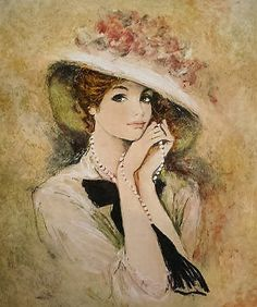 Charoy, Bernard Woman Playing w Necklace Old Paintings, Beautiful Paintings, Female Images, Female Art, Vintage Prints, Vintage Art, Double Exposition, Illustration Art, Illustrations
