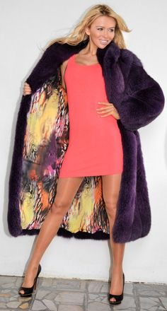 Dyed purple fox #fur coat with spectacular lining. www.fursbygartenhaus.com