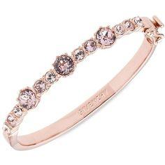 Givenchy Crystal Studded Bangle Bracelet ($58) ❤ liked on Polyvore featuring jewelry, bracelets, rose gold, hinged bracelet, hinged bangle, rose gold tone jewelry, bangle bracelet and white jewelry
