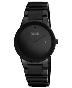 Citizen Watch, Men's Eco-Drive Axiom Black Ion-Plated Stainless Steel Bracelet 40mm AU1065-58E - Men's Watches - Jewelry & Watches - Macy's