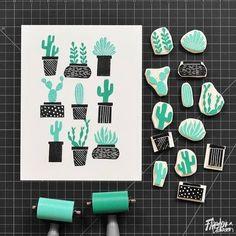 Tampons cactus / Cactus stamps by Andrea Lauren Stamp Printing, Printing On Fabric, Screen Printing, Handmade Stamps, Handmade Art, Eraser Stamp, Stamp Carving, Linocut Prints, Gravure