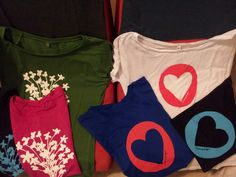 Jasmin and Heart designs screen printed on bamboo and tencel fibre Tshirts
