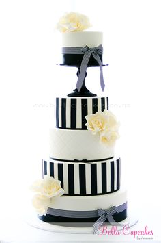 Black  White Striped Wedding Cake