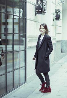 Blanca Suarez Zadig&Voltaire coat Jean Paul Gaultier shirt Swildness pants Isabel Marant sneakers #streetstyle