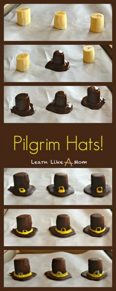 Banana and Chocolate Pilgrim Hats! - Learn Like A Mom! #treats #thanksgiving #dessert #recip...