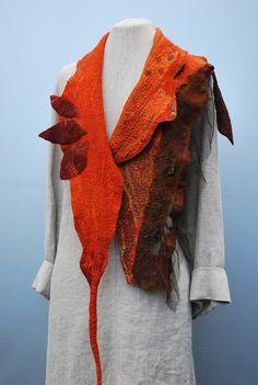 Gorgeous extraordinary hand felted  scarf  by sassafrasdesignl, $135.00