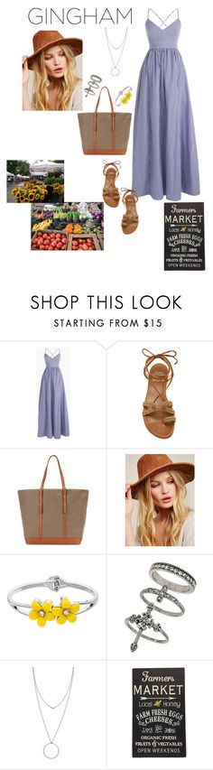 """""""Gingham Dress: Farmers Market"""" by paolacaligirl ❤ liked on Polyvore featuring J.Crew, Stuart Weitzman, Vanessa Bruno, Free People, Miss Selfridge, Botkier and Sara's Signs"""