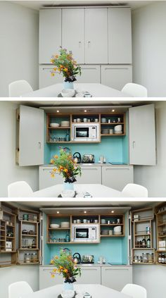 Flat Pack Hivehaus Transforms into Hexagonal Modular Homes - Microwaves - Ideas of Microwaves - Micro Kitchen, Hidden Kitchen, Compact Kitchen, Tidy Kitchen, Kitchen Paint, Kitchen Ideas, Kitchen Shelf Unit, Kitchen Units, Tiny Spaces