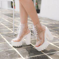 Transparent High-Heeled Platform Boots – S Adriaxna.x Transparent High-Heeled Platform Boots Thick Heel Boots, Thick Heels, Heeled Boots, Shoe Boots, Chunky Heels, Women's Shoes, Heeled Sandals, Black Shoes, Platform High Heels