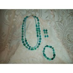 Aqua Glass Beads Set with Gift Box by SandiesGiftCorner on Etsy ($16) via Polyvore