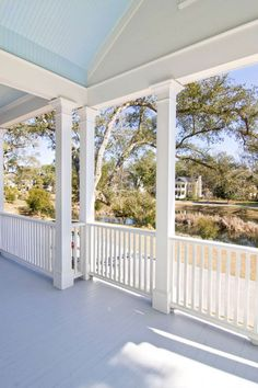 Sawaya recommends three shades of Sherwin-Williams paint to those looking to paint their own porch ceiling blue:        SW 6471 Hazel      SW 6505 Atmospheric      SW 6944 Pool Blue