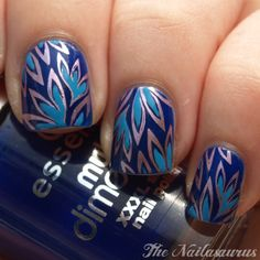 Royal blue Turquoise and Silver nails for fall