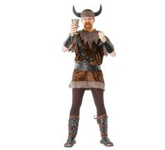 Disfraz barato de Vikingo adulto para Carnavales. Talla única 52/54. Incluye casco, manguitos, camisa y cinturón.