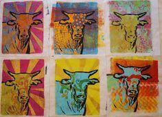 Ginger Wilson: Cow Gelli prints