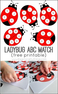 Ladybug Alphabet Match Activity (with free printable) Practice matching uppercase and lowercase letters with this Ladybug Alphabet Match Activity. Preschool Literacy, Literacy Activities, In Kindergarten, Teaching Resources, Preschool Bug Theme, Senses Preschool, Preschool Letters, Toddler Activities, Learning Letters
