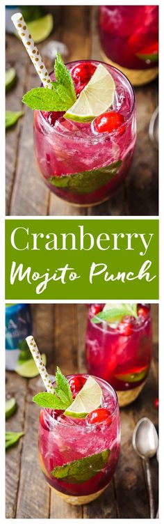 This Cranberry Mojito Punch is so refreshing and flavorful! It's a festive sparkling cocktail that's sure to have everyone dancing the night away at your holiday party! The red and green make it the perfect Christmas cocktail recipe! #sparklingholiday AD