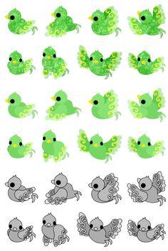フリーのアイコン素材可愛い不思議な小鳥達のアイコン / The icons of cute mysterious birds by atelier-bw  ダウンロードはこちらから  The downloading from this.