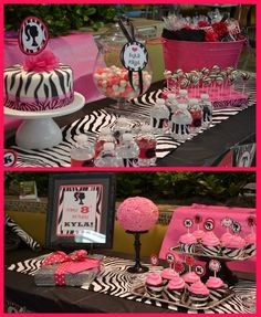 pink and black zebra party.Ava is obsessed with our zebra print body pillow. I am thinking this would be a great first birthday party theme! Zebra Birthday, Barbie Birthday, Barbie Party, Girl Birthday, Birthday Parties, Birthday Ideas, Barbie Theme, Pink Zebra Party, Cheetah Party