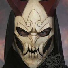 League Of Legends, Jhin Mask, Masks, Handmade Paint, Blood Moon, Metal Mesh, White Paints, Etsy, Hand Painted