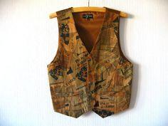 Leather Vest Beige Brown Suede Mens Newspapers by VintageDreamBox