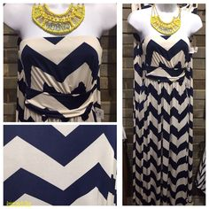 A Zig And A Zag #ZAZ5263 This fabulous yellow statement necklace that pops amazingly against this strapless navy and white chevron maxi dress. Navy & White Chevron Maxi Dress: $48 (Also available in grey and white) Necklace: $24 To add this marvelous maxi dress to your closet, fill out this form at http://form.jotform.us/form/42265697798173. For immediate assistance call us at 320-774-1533! We ship nationwide!
