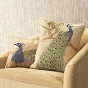 Needlepoint Peacock Pillows.  Gorgeous