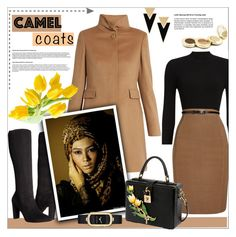 """Camel Coats"" by yoeni-jaan ❤ liked on Polyvore featuring Phase Eight, MaxMara, Adrienne Vittadini, Dolce&Gabbana, Jane Iredale, Marc Jacobs and Yves Saint Laurent"