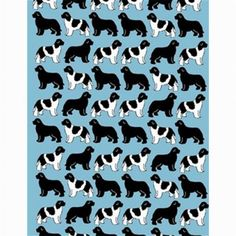 Landseer and Black silhouettes Newfoundland dog fabric