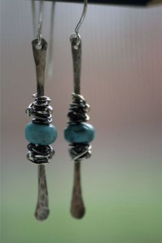 Inspiration... these would be so easy to make, yet so rustic and charming! hammered and wirewrapped earrings from etsy