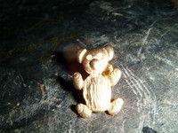 "beautiful goldtone teddy bear lapel badge with clear stone eyes 1""high"
