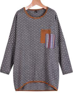 Pullover Langarm mit Streifenmuster, grau-Sheinside